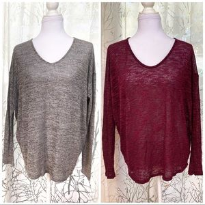 Gray & red knit sweaters